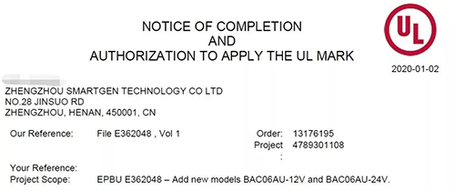 BAC06AU Series Battery Chargers Passed UL Certificate
